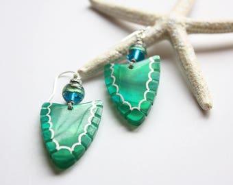 Arrowhead Earrings, Authentic Murano Glass and Shell Earrings, OOAK Earrings, Ready to Ship