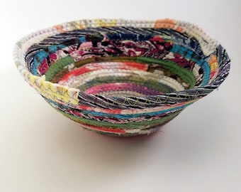 "Multicolor Jeweled Fabric Bowl, Made to Order, Coiled Rope Style, 7"" Diameter, Upcycled, Eco Friendly Boho Hippie Unique Gift"
