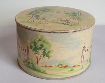 Vintage Cheramy New York Frolic Powder Box - Pretty Design, Old Advertising