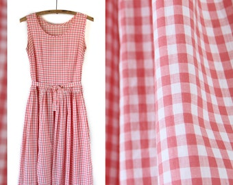 Sweet 1950s Vintage Cotton Gingham Dress  |  Size Medium