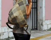 Kalliope enlarged to H50cm ,olive plaid canvas with brown nubuck leather trims