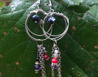 Hoop and dangle earrings