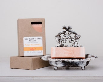 Olive Oil Soap, Mango Pomegranate, made with organic oils and Phthalate Free oils, by greenbubblegorgeous