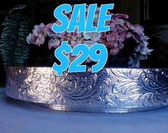 "SALE Wedding Cake Stand,  18 inch,  ""Floral Leaf"""