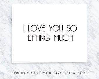 valentines card, printable valentines, digital valentines, effing valentines, i love you card, romantic card, printable cards