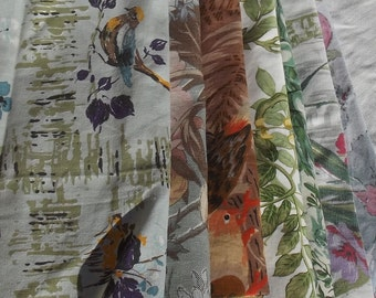 Bundle of Vintage French Chinoiserie fabric Songbirds Waterfalls Vines
