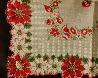 All Cotton Christmas Poinsettia Handkerchief Hankie New Old Stock w/ Orig Foil Label    NEF2