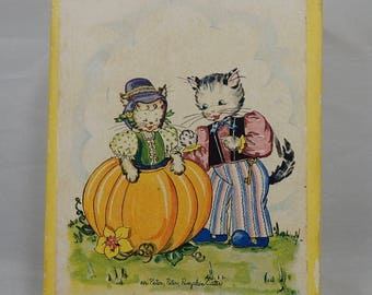 Box of 15 Vintage Note Cards & Envelopes w/ Kitty Cat Peter Pumpkin Eater Child's Stationary    OD56