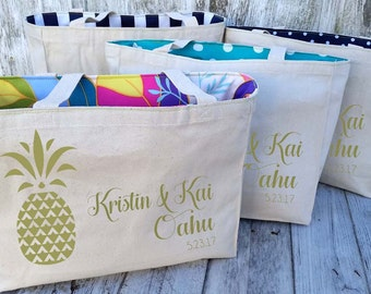 10+ LINED Pineapple Aloha Hawaii Custom Destination Wedding Welcome Canvas Market Tote Bags