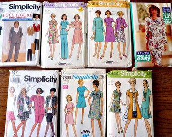7 Plus Size Sewing Patterns Bundle,  Bargain Patterns 1960's to 1990's Simplicity, See & Sew Multi-size 18 to 32W Lot A