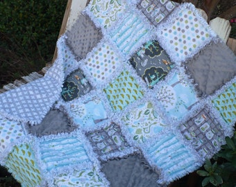 Baby Boy Rag Crib Quilt -Modern Woodland Fun with Nature Backyard Baby in Soft Gray Aqua and Apple Green Ready to Ship
