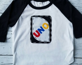 UNO birthday shirt, 1st, one birthday, game birthday theme, raglan tee, shirt