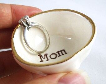 """hand printed """"mom"""" ring dish, handmade from white earthenware clay, with a gold luster rim - best personalized gift for mom from children"""