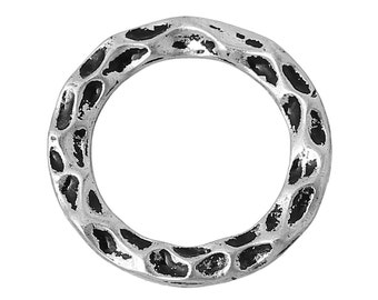 5 pcs. Antique Silver Carved Pattern Connector Soldered Closed Jump Rings - 16mm - 1.3mm Thick
