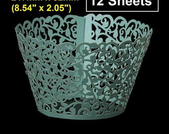 """12pcs Teal Aqua Turquoise Mint Green Blue Filigree Paper Lace Wedding Party Cupcake Cake Cups Wrappers Liners - 217mm x 52mm (8.54"""" x 2.05"""")"""