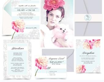 Blossoming Belle. Peony Stripe Modern Wedding invitation. Invitation and Rsvp Sample