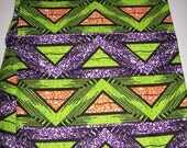 Lime Green and Purple African print fabric per yard, Triangles fabric, African Maxi skirt fabric, African clothing, African quality Prints