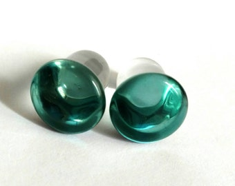 Teal Button Single Flare 7/16th gauged ear plugs earrings for stretched piercings