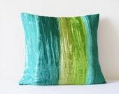 Shaded Turquoise Crushed Velvet Pillow , Teal & Green Velvet Cushion Cover , Shaded Turq Velvet Throw Pillow , Housewares , Velvet Cushion