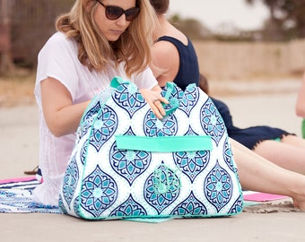 Monogrammed Beach Tote -  Personalized Beach Bag - Navy Mint Tote - Monogrammed Pool Bag - Monogrammed Beach Bag - Summer  - Gift for her