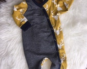 Mustard and navy deer head romper available in sizes newborn to 2 years