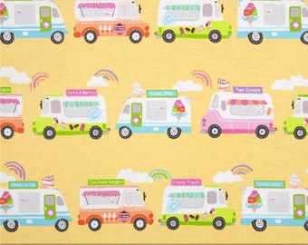 Kanvas What's the Scoop Ice Cream Express Truck Fabric Yellow One Yard