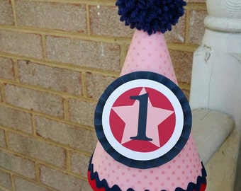 Super Star Party Hat | Pink, Navy, Red | County Fair | Birthday Party Hats | Penny Circus | Carnival Party | Little Star | Super Hero