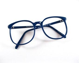 Circular eyeglasses frames. Navy plastic oversized 80s 90s new old stock / deadstock / NOS. no lenses.