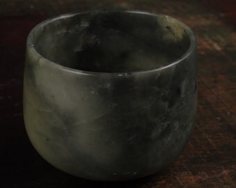 Carved Stone - Green Nephrite, Jade - Tea Cup/Bowl