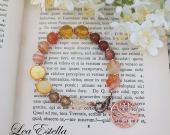 Rose Gold Bracelet Rustic Autumn Bracelet Tree of Life Bracelet Fall Jewelry Fall wedding Carnelian Bracelet - Tree of Life