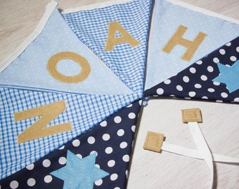 Personalised Boy Bunting - Name Flags - Star Design