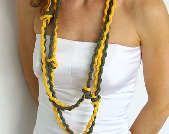 Long fiber necklace, spring fabric necklace, long knot necklace, yellow necklace, chaki necklace, simple cord necklace, ecofriendly jewel