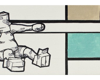 BOXCHUB SERIES - Original Mixed Media Painting - Ink, Acrylic on Canvas - Contemporary Minimal Figurative
