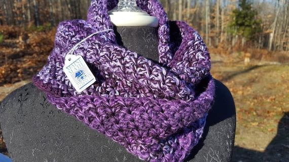 Purple haze hand crocheted infinity scarf
