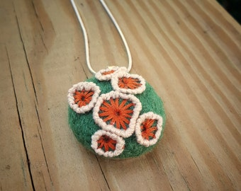 Fungus Inspired Needle-felted and Hand-embroidered Pendant