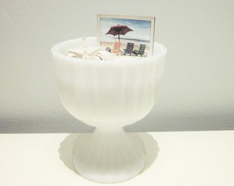 Vintage Milk Glass Planter with Pedestal, Shabby Chic, Cottage Chic, Mid Century