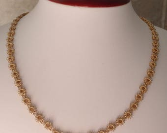 Hobe Wire Floret Necklace Chain Gold Tone 24 Inch Vintage V0818