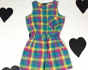 80's rainbow plaid cotton romper 1980's neon madras colorful playsuit jumpsuit / resort / preppy / yuppie / button up / pockets / M medium