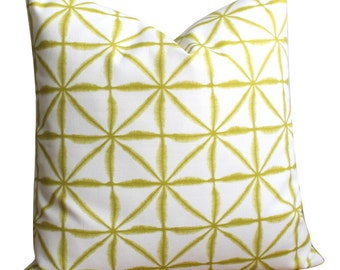 Decorative Pillow Cover, Chartreuse Pillow Cover, Pillowcase, Throw Pillow, Pillow Sham, Cushion Cover - Tie-dye Lattice Chartreuse
