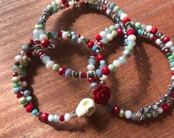 Sugar Skull and Rose Bracelet Memory Wire Bracelet Set of 3