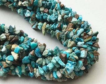 WHOLESALE 5 Strands Turquoise Chips Beads, Natural Turquoise Gemstone Chips, Chip Beads, Turquoise Necklace, 4-8mm, 32 Inch - RAMA203