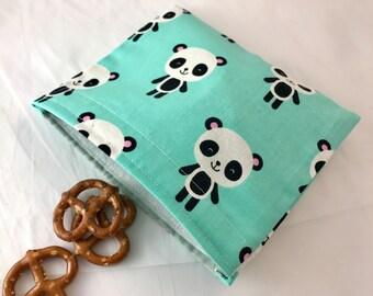 Panda Reusable Snack Bag - Reusable Baggie - Panda Bear Snack Bag - Fabric Snack Bag - Reusable Fabric Snack Bag - Pandas Blue