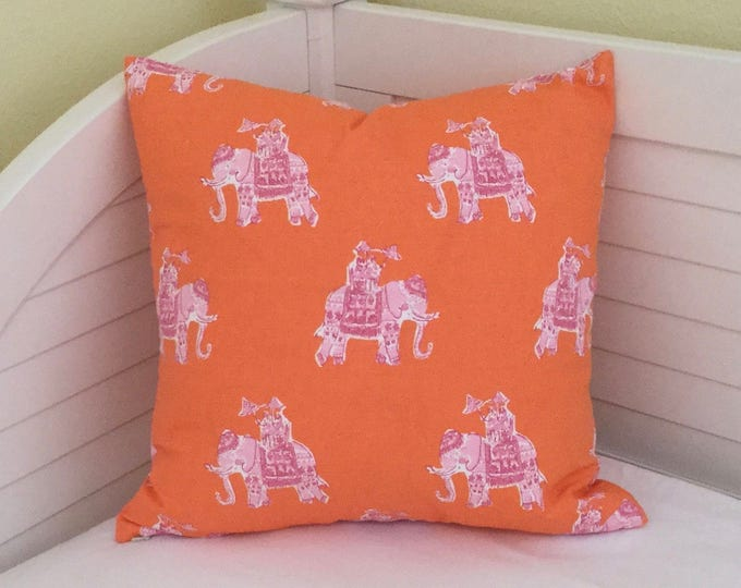 Lilly Pulitzer Bazaar in Clementine Elephants Designer Pillow Cover - Square, Euro and Lumbar Sizes