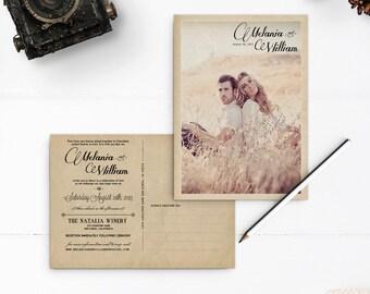 "Vintage Postcard Wedding Invitations, 5x7, Wedding invitations , the ""Melania"""