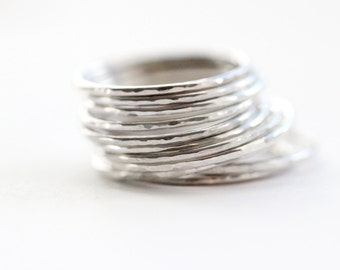 Slim Stacking Ring, set of 3, set of 5, set of 7, set of 10, minimalist silver ring