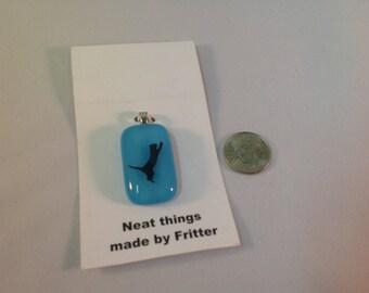 Fused Glass Cat pendant, C2