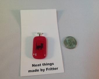 Fused Glass Cat pendant, C13