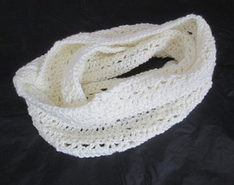 Infinity Scarf, hand crocheted, ivory, off white, cream