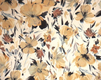 Golden Beige Romantic Floral Print Stretch Cotton Sateen Fabric--By the Yard