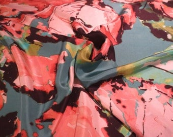 Peach and Jade Green Large Abstract Leaf Print Pure Silk Crepe de Chine--By the Yard